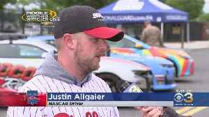 Nascar Driver Justin Allgaier Throwing Out First Pitch At Phillies Game [Video]