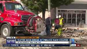 Water main break reported at Pimlico Race Course [Video]
