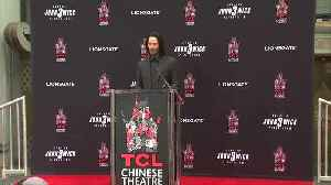 Third time's a charm as Keanu Reeves leaves cement imprint in Hollywood [Video]