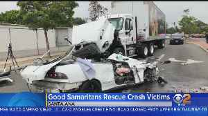 Strangers Rush To Help Men Trapped After Head-On Crash With Big Rig [Video]