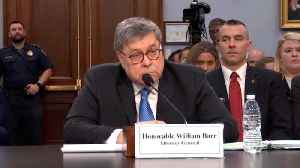 News video: Barr Jokingly Asks Pelosi If She 'Brought Her Handcuffs'