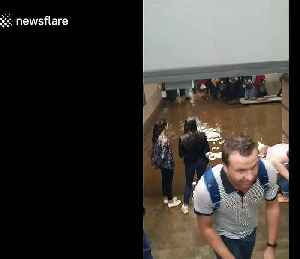 Russian commuters wade through flooded station in Moscow [Video]