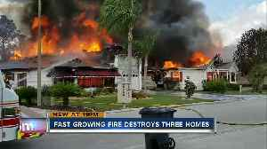 Fast-growing fire destroys 3 homes [Video]