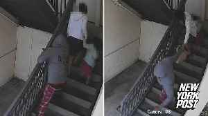 Purse snatcher viciously yanks mom and daughter down stairs [Video]