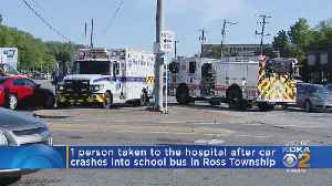 Car Collides With School Bus On McKnight Road [Video]