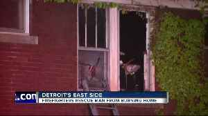 News video: Detroit man rescued from burning home on east side
