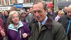 News video: Nigel Farage hits rain-soaked Dudley for walkabout on EU elections campaign