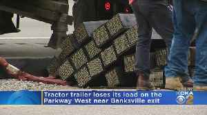 Truck Loses Load On Inbound Parkway West [Video]