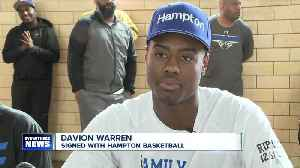 Davion Warren signs with Hampton basketball [Video]