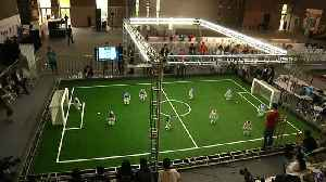Falling and scoring, robots compete on football pitch [Video]
