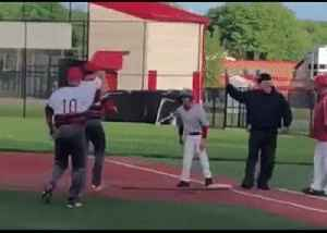 High School Baseball Teams Celebrate as Student With Mobility Impediment Makes a Base Hit [Video]