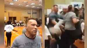 Watch: Terminator star Arnold Schwarzenegger struck by flying kick [Video]