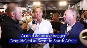 Arnold SchwarzeneggerDropkicked at Event in South Africa [Video]