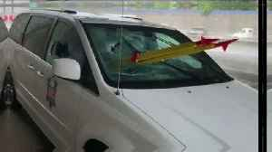 Van Passenger Impaled after Tripod Thrown from Freeway Overpass [Video]