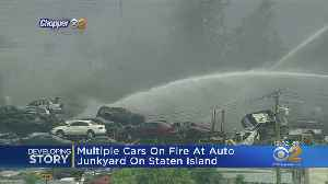 Fire Breaks Out At Automobile Junkyard [Video]