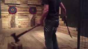 Watch this talented Canadian axe thrower perform a series of incredible trick shots [Video]