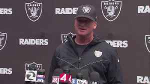 Oakland Raiders head coach Jon Gruden reacts to wide receiver Antonio Brown's absence at OTAs [Video]