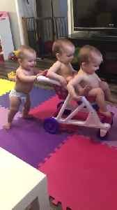 Triplet Babies Push Each other in Toy Shopping Cart [Video]