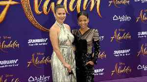 Nadine Velazquez, Christina Milian 'Aladdin' World Premiere Purple Carpet [Video]