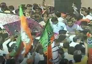 News video: BJP Supporters Rally at New Delhi Headquarters After Projected Landslide Victory