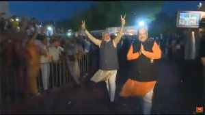 News video: Narendra Modi shows victory sign at BJP HQ after storming back to power