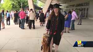 Service dog graduates with owner at UMBC [Video]