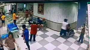 Hospital patients run for cover as storm tears through waiting room in Thailand [Video]