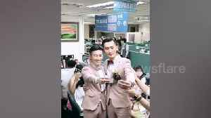 Taiwan's first gay couple get married after country legalised same-sex marriage [Video]