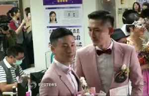 First of Taiwan's same-sex couples get married after legalisation [Video]