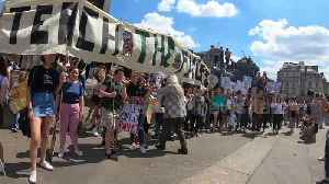 Youth climate change activists gather at Nelson's Column in central London [Video]