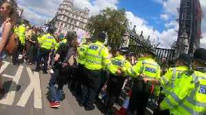 Young climate activists seen shouting at police officers, London UK [Video]