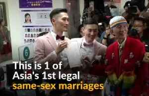Taiwan celebrates Asia's first same-sex marriages as couples tie knot [Video]