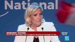 Post-EU election speech by Marine Le Pen, President of the National Rally party, who have topped the polls. [Video]