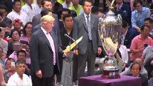 Trump first U.S. president to watch sumo in sport's homeland [Video]