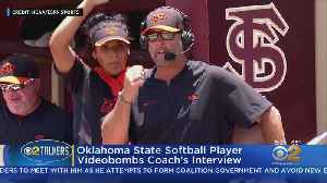 Softball Player Videobombs Coach's Interview [Video]