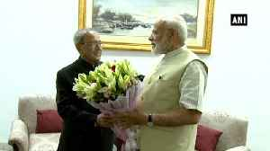 PM Modi seeks former President Pranab Mukherjee's blessings after poll win [Video]