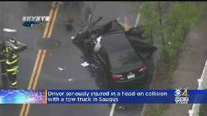 Driver Critically Injured After Head-On Collision With Tow Truck In Saugus [Video]