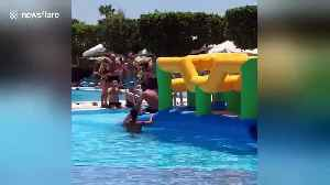 Funny moment UK tourist overtakes Russian in swimming trunks on aquatic assault course [Video]