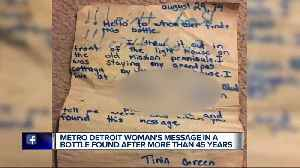 Metro Detroit woman's message in a bottle found after more than 45 years [Video]