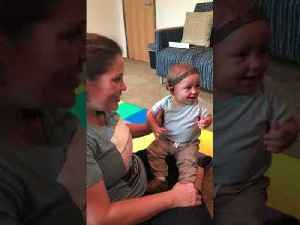 Baby with Hearing Aids Laughs Hearing Family Sing for the First Time [Video]