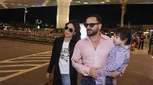 Saif Ali Khan and Kareena Kapoor leave for London with son Taimur [Video]