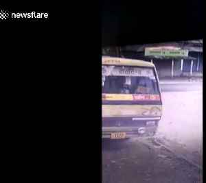 Security cam captures moment rampaging elephant rams tuk-tuk [Video]