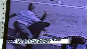 Caught on camera: Female security guard assaults homeless man outside of Detroit store [Video]