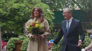 Melania Trump attends garden party on state visit [Video]