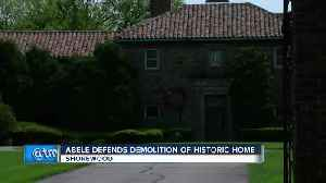 County Executive Abele defends his decision to tear down Shorewood mansion [Video]