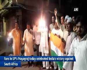 Fans celebrate India victory against South Africa in Prayagraj [Video]