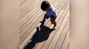 Little boy is afraid of his own shadow [Video]