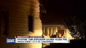 Propane tank explosion causes house fire [Video]