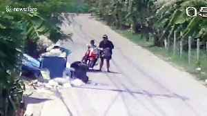 Shocking moment Thai mother dumps newborn baby in dustbin then rides away on moped [Video]
