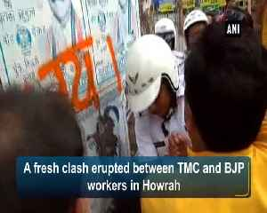 BJP leaders clash with TMC workers after painting walls in Howrah with jai shree ram slogans [Video]